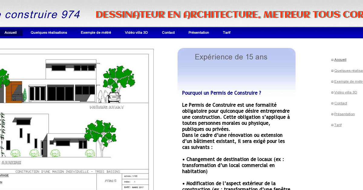 dessinateur projeteur permis de construire 974. Black Bedroom Furniture Sets. Home Design Ideas